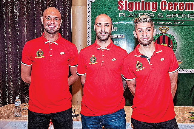 DPMM FC's import players, (from left) Rafael Ramazotti, Billy Mehmet and François Christian Herve Sebastian Marque. - KHAIRIL HASSAN