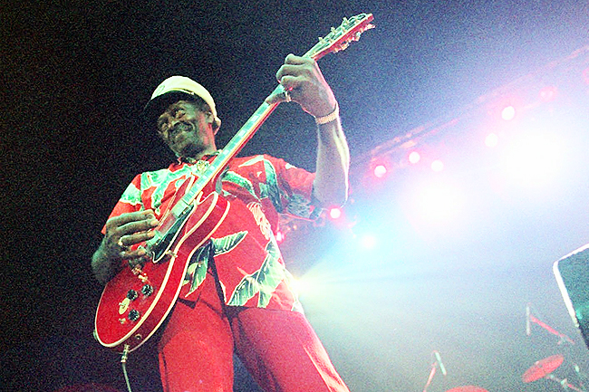Chuck Berry performs during the 'Legends of Rock 'n' Roll' at the Hallenstadion in Zurich, Switzerland in this July 28, 1999 file photo
