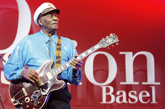 Legendary US musician Chuck Berry performs on stage at the Avo Session in Basel, Switzerland in this November 13, 2007 file photo. Berry, rock 'n' roll's founding guitar hero and storyteller who defined the music's joy and rebellion in such classics as 'Johnny B Goode', 'Sweet Little Sixteen' and 'Roll Over 'Beethoven', died March 18 at his home west of St Louis. He was 90. - PHOTOS: AP