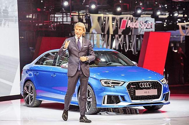 Audi Sport GmbH CEO Stephan Winkelmann in front of the new Audi RS 3 Sedan at the Paris Motor Show 2016