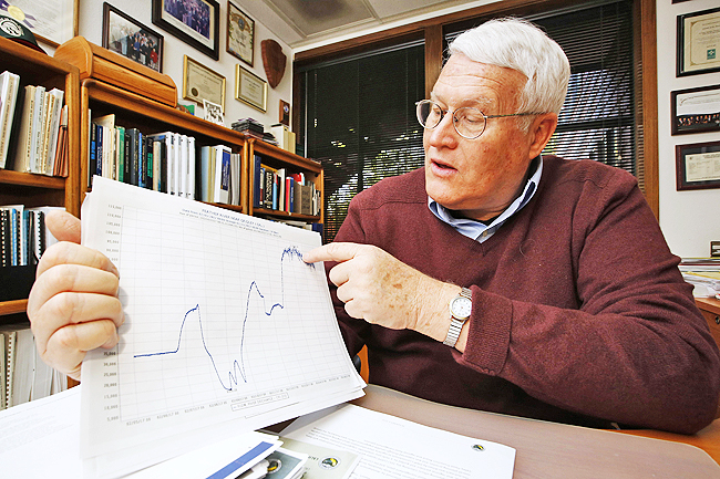 Ron Stork, senior advisor with the Friends of the River conservation group, points to a chart showing water releases from the Oroville Dam, at his office in Sacramento