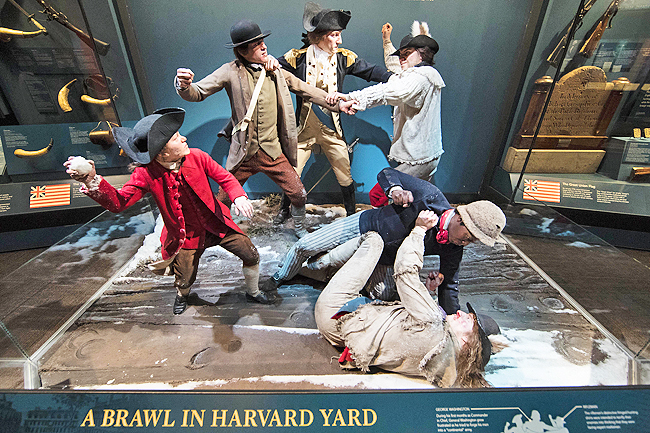 The display depicts George Washington, centre, breaking up a fight amongst American soldiers including an African American man, lower-right, who served in a New England regiment, at the Museum of the American Revolution in Philadelphia