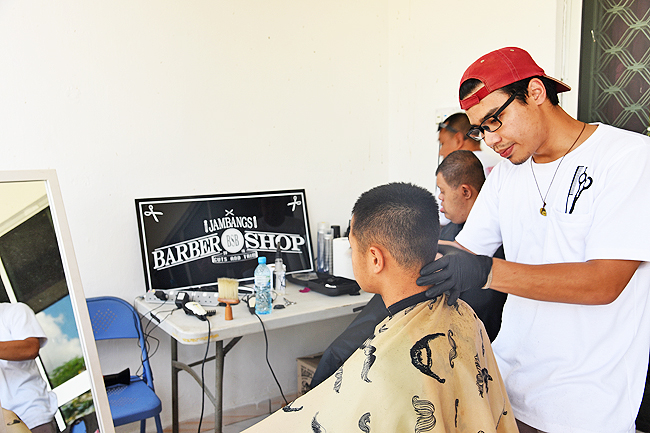 One of the activities for the students is free haircuts. - PHOTOS: DANIEL LIM