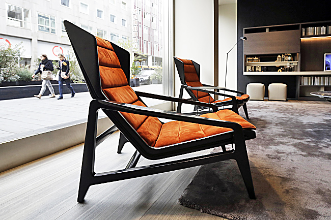 Photo taken on April 7 shows a chair called D.156.3 created by italian designer Gio Ponti for Molteni's furniture designers, part of the Design Fair exhibition