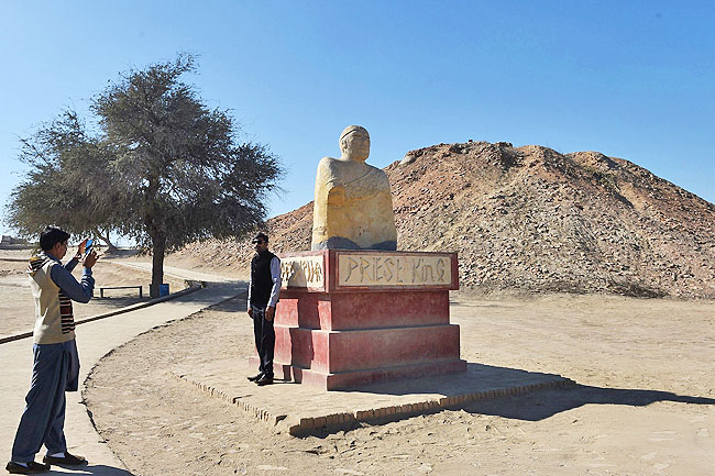 A replica of a statue of King Priest discovered at Mohenjo Daro