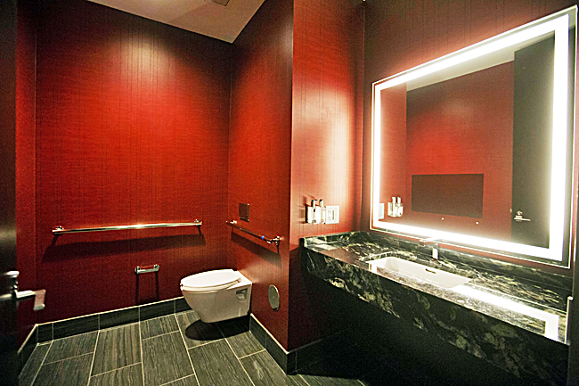 The bathroom of a low level suite is seen inside the Mercedes-Benz Stadium. - PHOTOS: AP