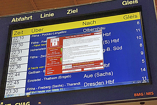 Photo taken on May 12 shows a display panel with an error at the main railway station in Chemnitz, Germany