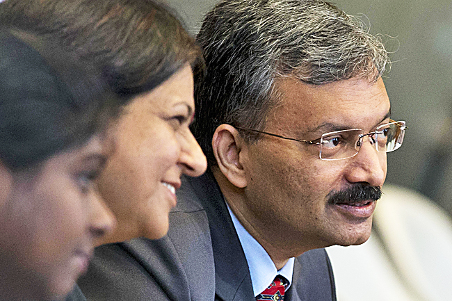 Dr Deepak Mittal, joint secretary of India's Ministry of External Affairs waits for judges to enter and read the World Court's verdict in The Hague, Netherlands, yesterday. - AP