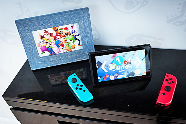 The Nintendo  Switch console during the company's launch event in New York on March 3