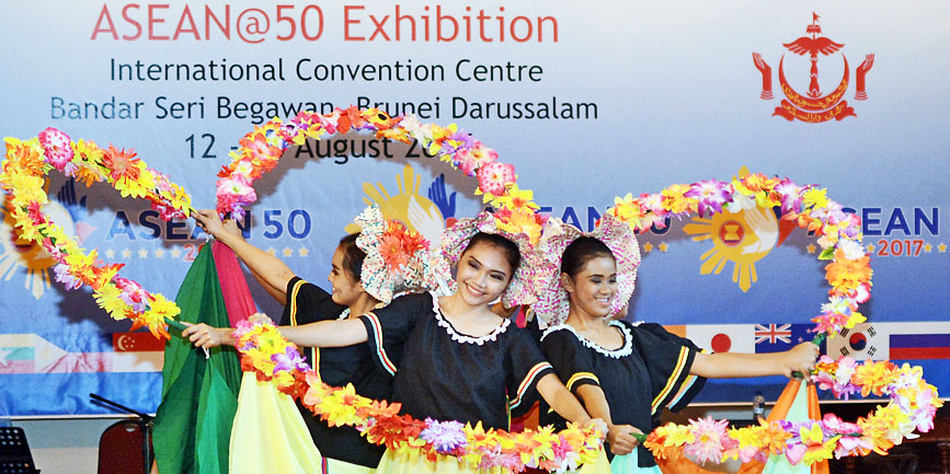Ten dancers from the Aquinas University of Legazpi, Philippines, thrilled crowds during a cultural dance showcase at the Asean@50 exhibition at the International Convention Centre (ICC) in Berakas yesterday