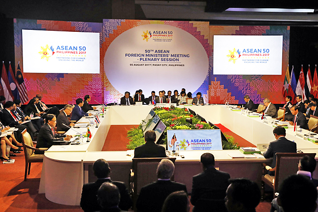 Asean Foreign Ministers take part in a meeting of the 50th Association of Southeast Asia Nations (Asean) Regional Forum in Manila, Philippines. - AP