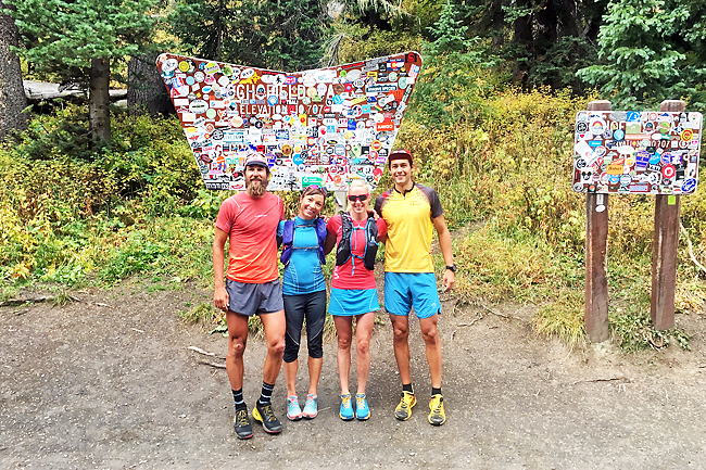 La Sportiva-sponsored ultrarunners Anton Krupicka, Kristina Pattison, Meredith Edwards and Nico Barraza pause at Schofield Pass, elevation 10,707 feet, before running onto the 401 trail