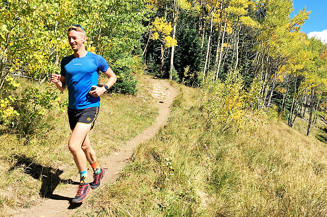 Runner Peter Koch finds his rhythm through the aspens on a long run at Doctor Park, south of Crested Butte, Colorado. - PHOTOS: WP-BLOOM