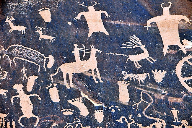 Newspaper Rock, a petroglyph panel etched in sandstone, records centuries of human activity