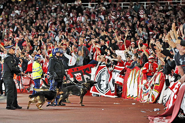 d0604982b Police keep an eye on Cologne supporters in the stands as the kick off is  delayed due to crowd safety issues ahead of the UEFA Europa League Group H  ...