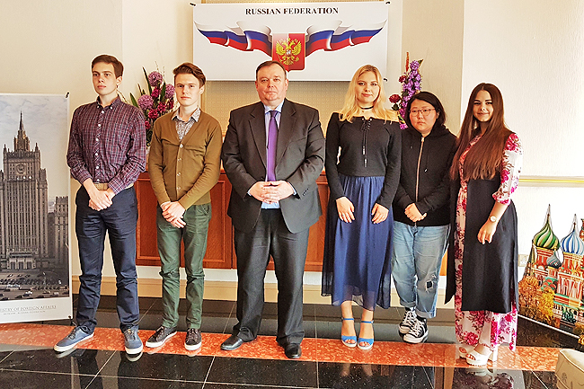 Russian students spend one semester at ubd under exchange programme the ambassador of the russian federation to brunei darussalam vladlen semivolos in a group photo with the five russian students at the embassy of the publicscrutiny Image collections