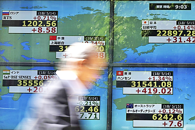 A man walks past an electronic stock board showing Japan's Nikkei 225 index and other country's index at a securities firm in Tokyo. – AP