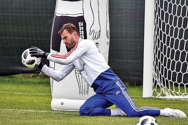 50a57727a17 Russia s goalkeeper Igor Akinfeev attends a training session in Novogorsk  outside Moscow yesterday