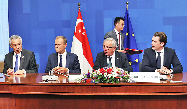 Eu Singapore Sign Free Trade Deal Borneo Bulletin Online