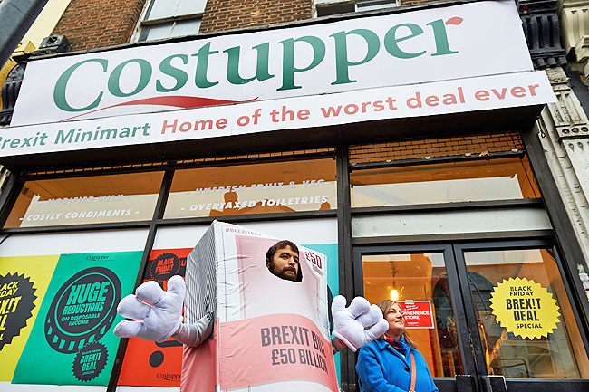 4c1d3c9a4 Activists welcome shoppers to the  Costupper Brexit Minimart