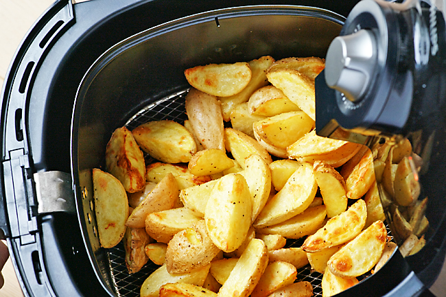 potatoes cooked in an air fryer